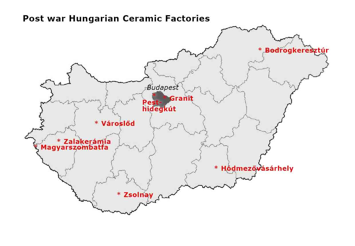 Post war Hungarian Ceramic Factories