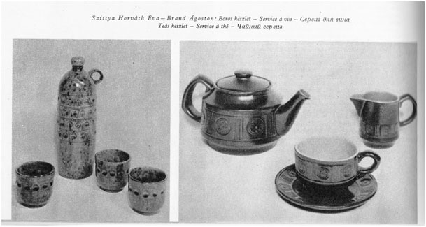 Városlőd : Éva Horváth, wine set – Brand Ágoston, coffee set, 1969